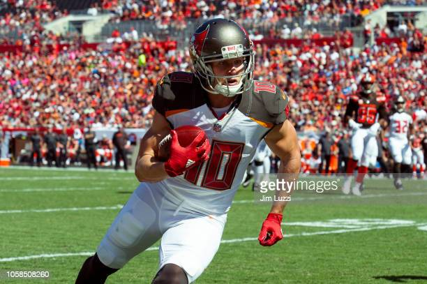 Adam Humphries of the Tampa Bay Buccaneers runs the ball in the first quarter against the Cleveland Browns at Raymond James Stadium on October 21...