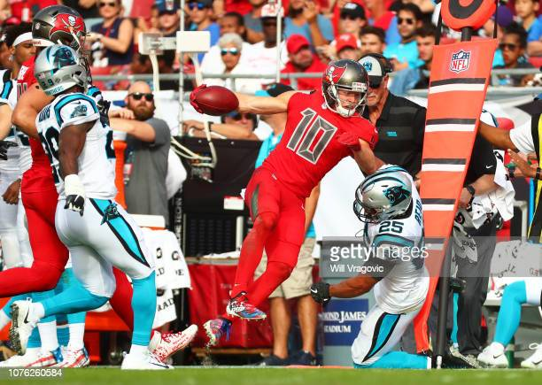 Adam Humphries of the Tampa Bay Buccaneers runs to the sideline during the fourth quarter against the Carolina Panthers at Raymond James Stadium on...
