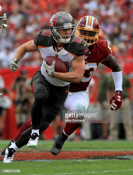 Adam Humphries of the Tampa Bay Buccaneers rushes after a catch during a game against the Washington Redskins at Raymond James Stadium on November 11...