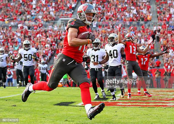 Adam Humphries of the Tampa Bay Buccaneers scores a touchdown during the second half of the game against the New Orleans Saints at Raymond James...