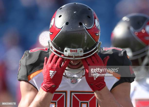 Adam Humphries of the Tampa Bay Buccaneers wears Adidas receiver's gloves as he warms up before the start of NFL game action against the Buffalo...