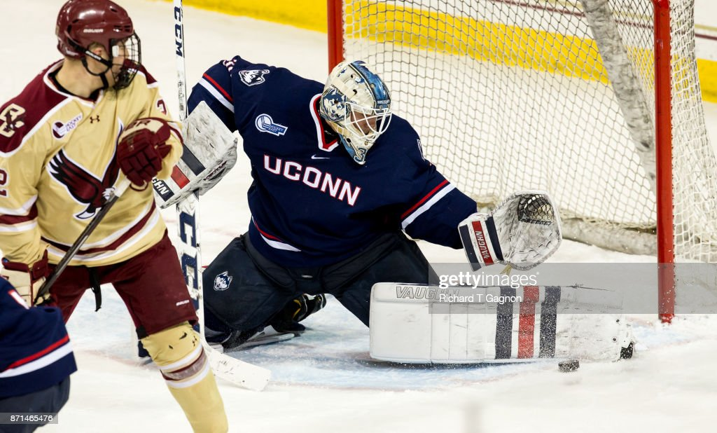 Adam Huska #30 of the Connecticut Huskies makes a skate save against the Boston College Eagles during NCAA hockey at Kelley Rink on November 7, 2017 in Chestnut Hill, Massachusetts.