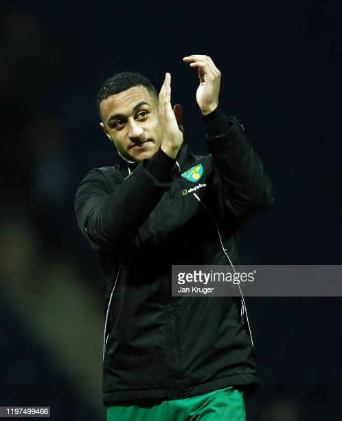 Adam Idah of Norwich acknowledges the fans after the FA Cup Third Round match between Preston North End and Norwich City at Deepdale on January 04...