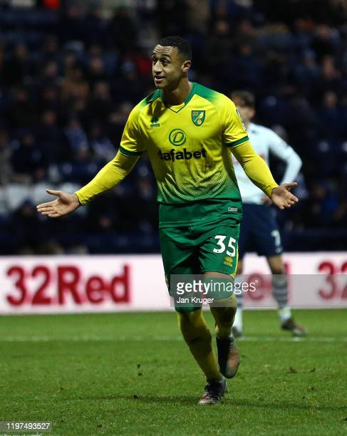 Adam Idah of Norwich celebrates after scoring his team's third goal from the penalty spot during the FA Cup Third Round match between Preston North...