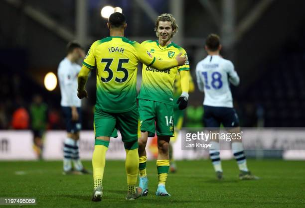 Adam Idah of Norwich celebrates with Todd Cantwell after scoring his team's third goal during the FA Cup Third Round match between Preston North End...