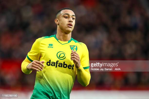 Adam Idah of Norwich City during the Premier League match between Manchester United and Norwich City at Old Trafford on January 11 2020 in Manchester...