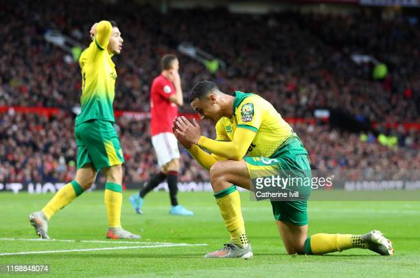 Adam Idah of Norwich City reacts during the Premier League match between Manchester United and Norwich City at Old Trafford on January 11 2020 in...