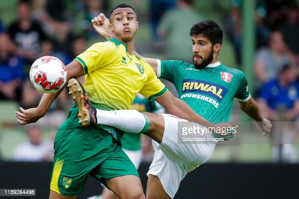 Adam Idah of Norwich City U23 Fabian de Abreu of FC Dordrecht during the Club Friendly match between FC Dordrecht v Norwich City U23 at the Riwal...