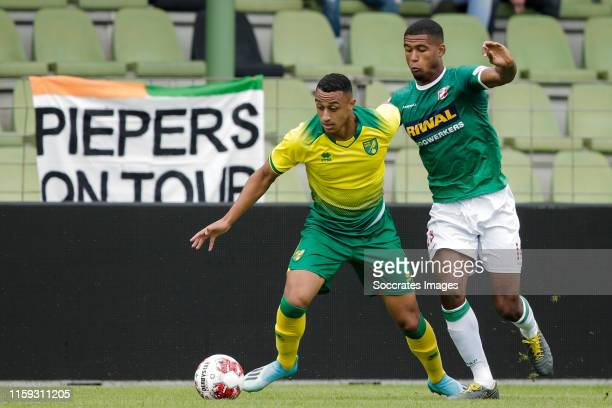 Adam Idah of Norwich City U23 Noah Lewis of FC Dordrecht during the Club Friendly match between FC Dordrecht v Norwich City U23 at the Riwal...