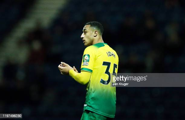 Adam Idah of Norwich is substituted during the FA Cup Third Round match between Preston North End and Norwich City at Deepdale on January 04 2020 in...