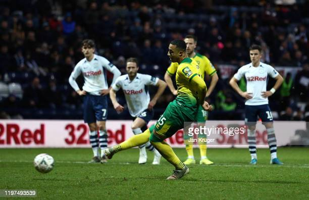 Adam Idah of Norwich scores his team's third goal from the penalty spot during the FA Cup Third Round match between Preston North End and Norwich...