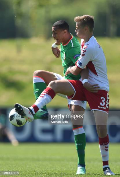 Adam Idah of Republic of Ireland and Mathias Ross Jensen of Denmark in action during the UEFA European Under17 Championship match between Republic of...