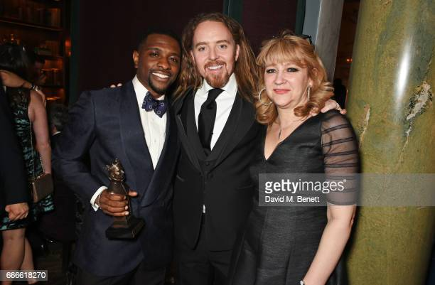 Adam J Bernard, Tim Minchin and Sonia Friedman attend The Olivier Awards 2017 after party at Rosewood London on April 9, 2017 in London, England.