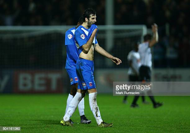 Adam Jackson of Hartlepool United walk from the pitch after his side lost to Derby County 2-1 during The Emirates FA Cup third round match between...