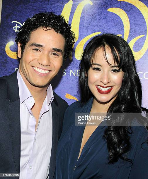Adam Jacobs and Courtney Reed attend the 'Aladdin' Broadway cast and creative team press preview at Mandarin Oriental Hotel on February 18 2014 in...