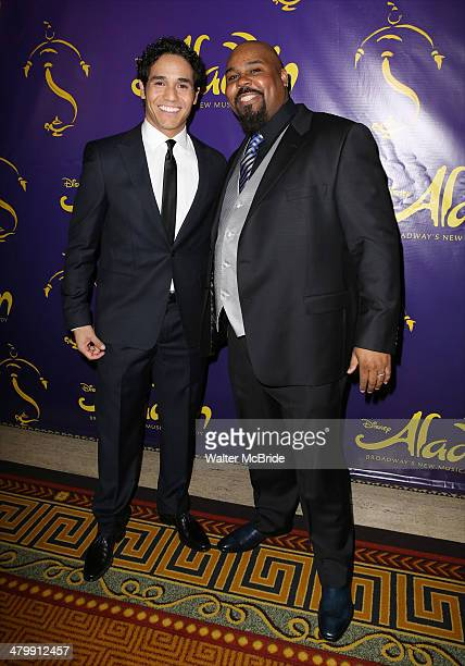 Adam Jacobs and James Monroe Iglehart attend the 'Aladdin' On Broadway Opening Night after party at Gotham Hall on March 20 2014 in New York City