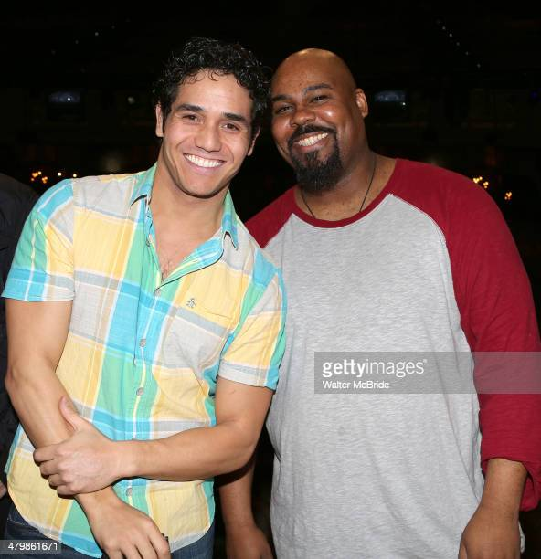 Adam Jacobs and James Monroe Iglehart attend the Broadway Opening Night Performance AEA Gypsy Robe Ceremony honoring Dennis Stowe for 'Aladdin' at...