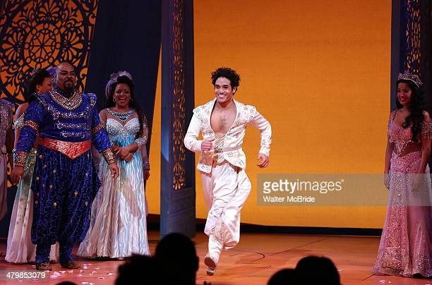 Adam Jacobs Courtney Reed and cast during the Broadway Opening Night Performance Curtain Call for Disney's 'Aladdin' at the New Amsterdam Theatre on...