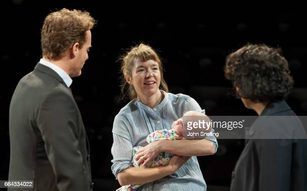 Adam James as Jake Anna Maxwell Martin as Kitty and Priyanga Burford as Rachel perform on stage during a performance of 'Consent' a new play at the...