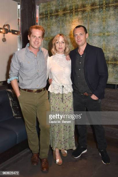 Adam James Claudie Blakley and Stephen Campbell Moore attend the press night after party for Nina Raine's 'Consent ' at 100 Wardour St on May 29 2018...