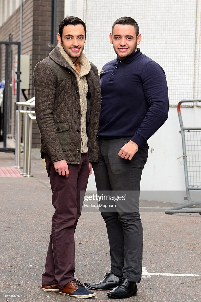 Adam Johnson and brother Richard Johnson sighted at ITV studios on April 22, 2013 in London, England.