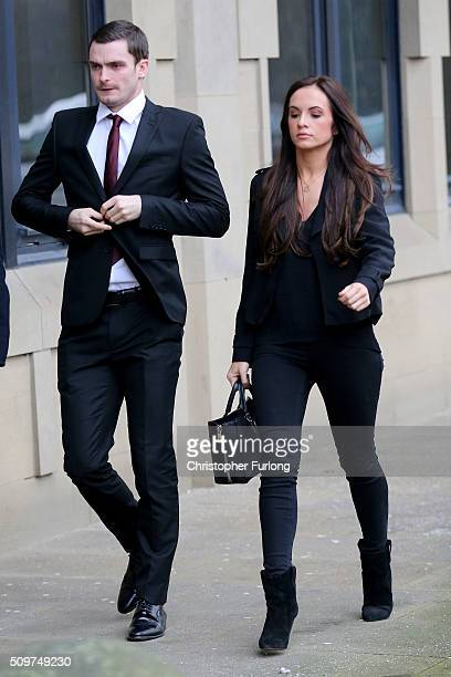 Adam Johnson and his girlfriend Stacey Flounders arrive at Bradford Crown Court where Johnson is facing child sexul assault charges on February 12...