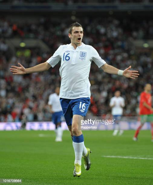 Adam Johnson celebrates after scoring England's third goal during the UEFA EURO 2012 Group G Qualifying match between England and Bulgaria at Wembley...