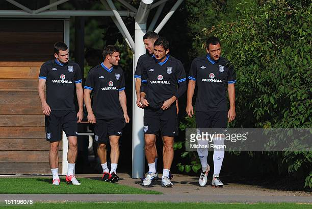 Adam Johnson James Milner Gary Cahill Frank Lampard and John Terry look on during during the England training session on September 3 2012 in London...