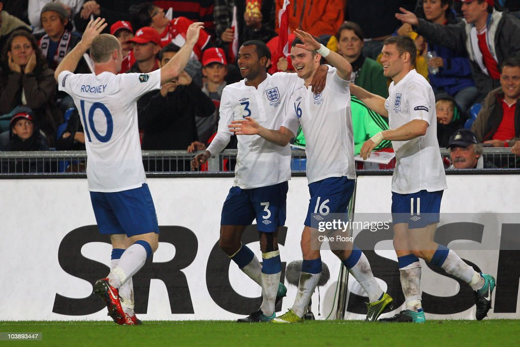 Adam Johnson of England celebrates his goal during the UEFA EURO 2012 Group G Qualifier between Switzerland and England at St Jakob Park on September 7, 2010 in Basel, Switzerland.