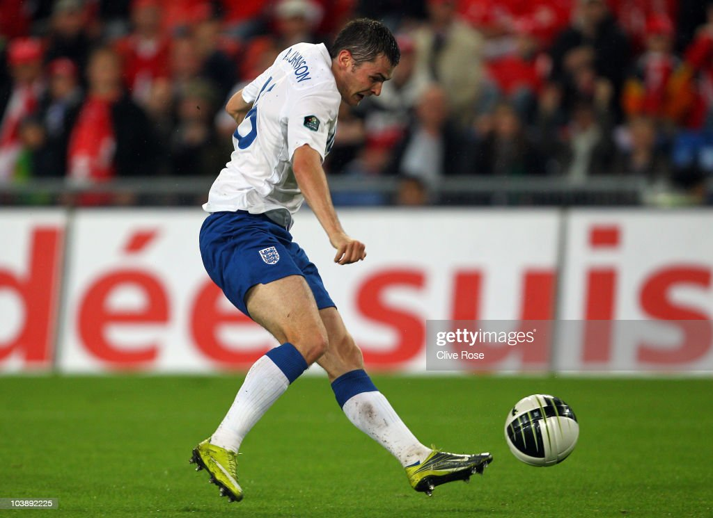 Adam Johnson of England scores during the UEFA EURO 2012 Group G Qualifier between Switzerland and England at St Jakob Park on September 7, 2010 in Basel, Switzerland.