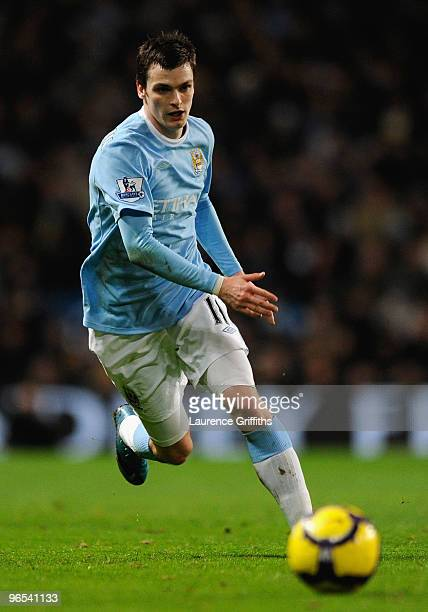 Adam Johnson of Manchester City in action during the Barclays Premier League match between Manchester City and Bolton Wanderers at the City of...