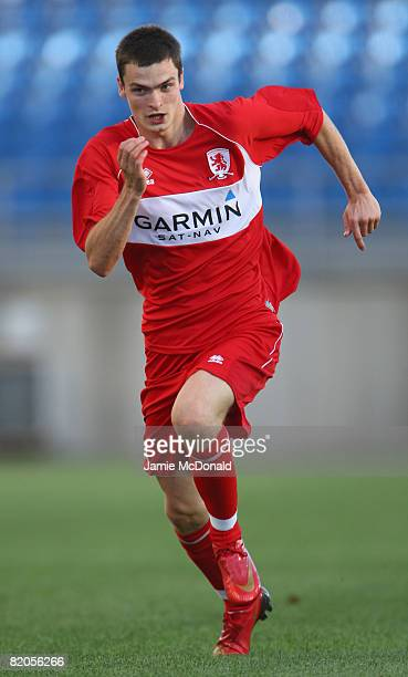 Adam Johnson of Middlesbrough in action during the Algarve Challenge Cup match between Guimaraes and Middlesbrough at the Estadio Algarve on July 24,...