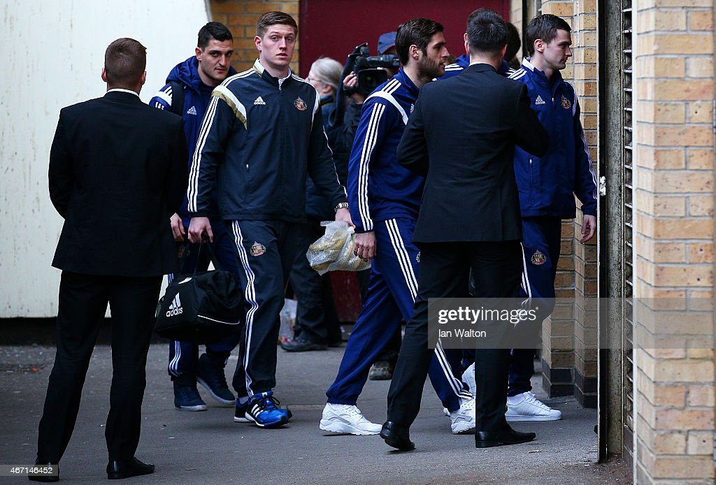 Adam Johnson (R) of Sunderland arrives for the Barclays Premier League match between West Ham United and Sunderland at Boleyn Ground on March 21, 2015 in London, England.