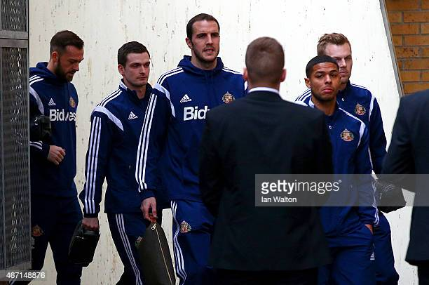 Adam Johnson of Sunderland arrives for the Barclays Premier League match between West Ham United and Sunderland at Boleyn Ground on March 21 2015 in...
