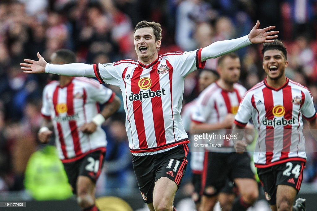 Adam Johnson of Sunderland celebrates after scoring a penalty and the opening goal during the Barclays Premier League match between Sunderland and Newcastle United at The Stadium of Light on October 25, 2015, in Sunderland, England.