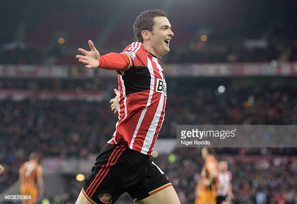 Adam Johnson of Sunderland celebrates after scoring the opening goal during the Barclays Premier League match between Sunderland and Hull City at the...