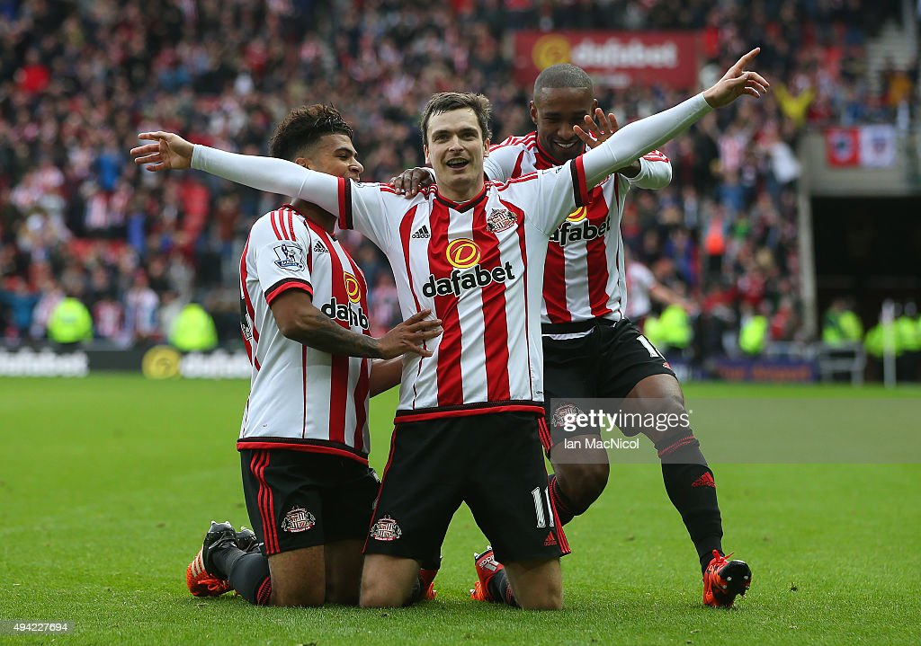 Adam Johnson of Sunderland celebrates scoring during the Barclays Premier League match between Sunderland and Newcastle at The Stadium of Light on October 25, 2015 in Sunderland, England.