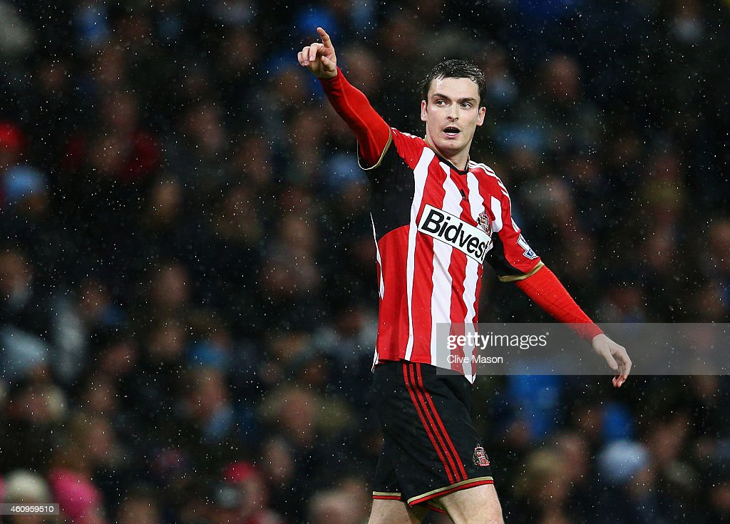 Adam Johnson of Sunderland celebrates scoring his penalty during the Barclays Premier League match between Manchester City and Sunderland at Etihad Stadium on January 1, 2015 in Manchester, England.