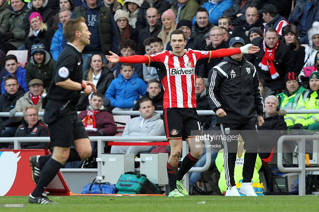 Adam Johnson of Sunderland gestures during the Barclays Premier League match between Sunderland and West Bromwich Albion at the Stadium of Light on February 21, 2015 in Sunderland, England.
