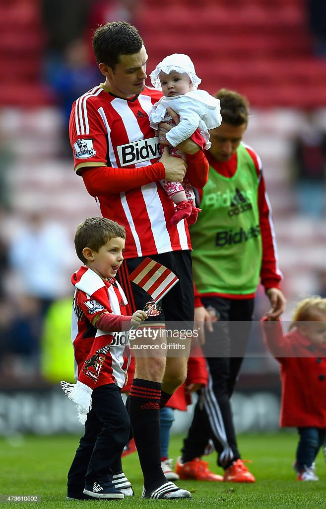 Adam Johnson of Sunderland walks a lap honour during the Barclays Premier League match between Sunderland and Leicester City at Stadium of Light on May 16, 2015 in Sunderland, England.