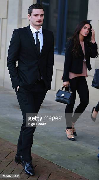 Adam Johnson with girlfriend Stacey Flounders leaving Crown Court after admitting two charges against him and pleading not guilty to two others on...