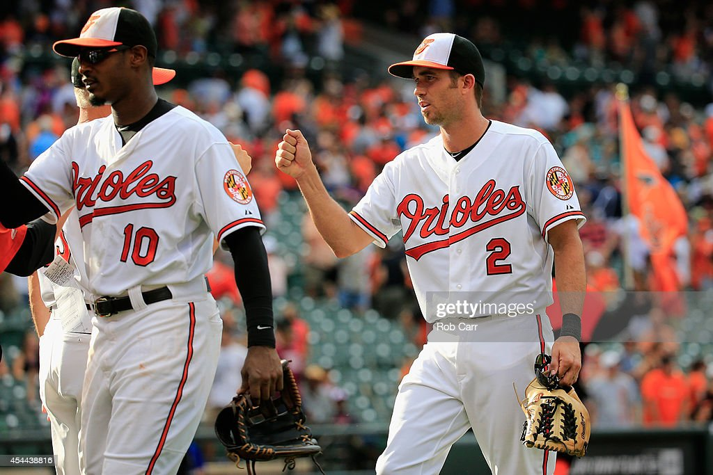 Adam Jones #10 and J.J. Hardy #2 of the Baltimore Orioles celebrate following the Orioles 12-8 win over the Minnesota Twins at Oriole Park at Camden Yards on August 31, 2014 in Baltimore, Maryland.