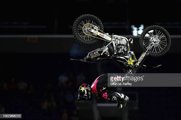 Adam Jones competes in the Moto X Freestyle Final event of the ESPN XGames at US Bank Stadium on July 20 2018 in Minneapolis Minnesota