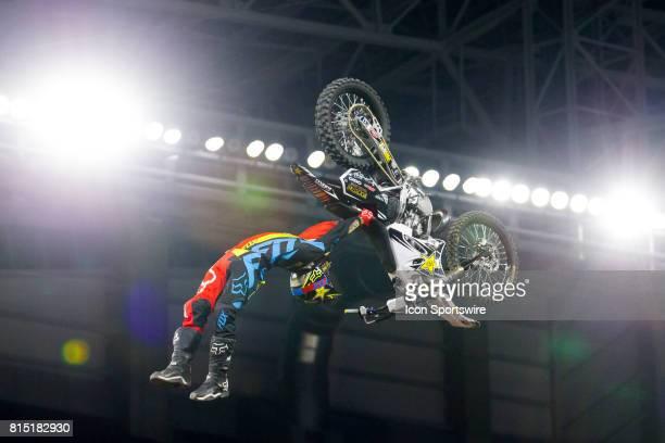 Adam Jones flips during Moto X Freestyle at X Games Minneapolis on July 14 2017 at US Bank Stadium in Minneapolis Minnesota
