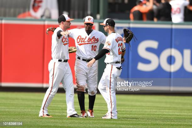 Adam Jones Joey Rickard and Trey Mancini of the Baltimore Orioles celebrate a win after a baseball game against the Tampa Bay Rays at Oriole Park at...