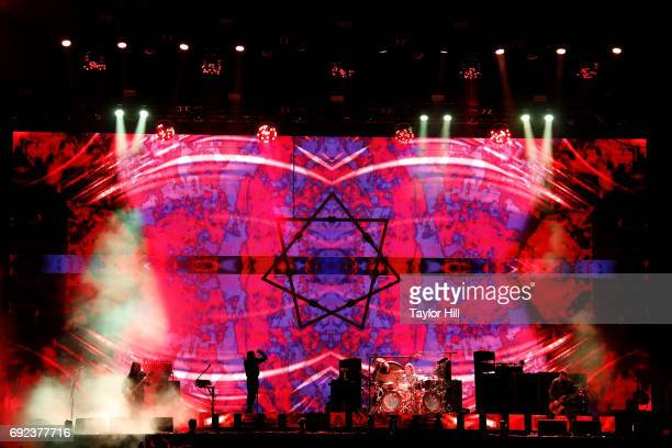 Adam Jones Maynard James Keenan Danny Carey and Justin Chancellor of Tool perform live onstage during 2017 Governors Ball Music Festival Day 3 at...