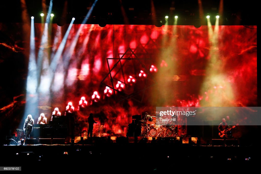 Adam Jones, Maynard James Keenan, Danny Carey and Justin Chancellor of Tool perform live onstage during 2017 Governors Ball Music Festival - Day 3 at Randall's Island on June 4, 2017 in New York City.