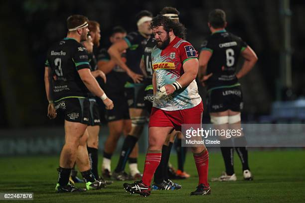 Adam Jones of Harlequins walks after being sent to the sin bin during the AngloWelsh Cup match between Ospreys and Harlequins at St Helens on...