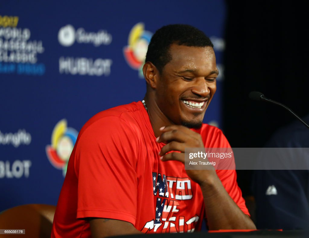 Adam Jones #10 of Team USA speaks during the postgame press conference after of Game 6 of Pool F of the 2017 World Baseball Classic against Team Dominican Republic on Saturday, March 18, 2017 at Petco Park in San Diego, California. Team USA defeated Team Dominican Republic 6-3 to advance to the final round.