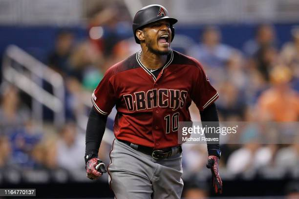 Adam Jones of the Arizona Diamondbacks reacts after flying out in the eighth inning against the Miami Marlins at Marlins Park on July 28, 2019 in...